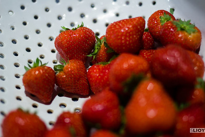 fresh strawberries in colander