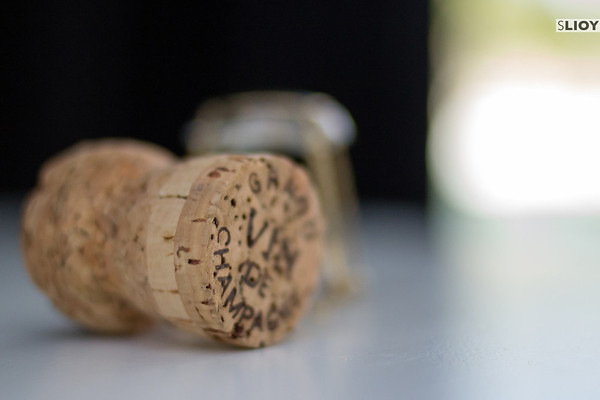champagne cork blurred background