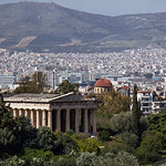 Temple of Hephaestus and the Ancient Agora in Athens, Greece.