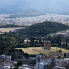Temple of Olympian Zeus seen from the Acropolis in Athens Greece.