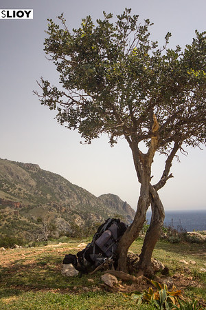 Resting beside an overlook on the Crete E4 Trail in Greece.