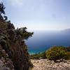 The trail rises above Agia Roumeli just off the Crete E4 Trail in Greece.