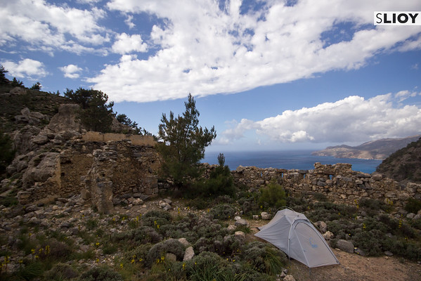Camping in an Ottoman Fortress on the Crete E4 Trail in Greece.