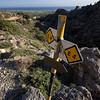 E4 Signpost near Fragokastello on the Crete E4 Trail in Greece.