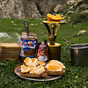 Hiking Breakfast on the Crete E4 Trail in Greece.