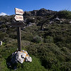 Signpost near Kato Zakros on the Crete E4 Trail in Greece.