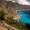 Hiking on the Crete E4 Trail Overlooking Agia Roumeli in Greece.