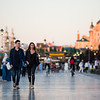 A young couple strolls along the banks of the Volga river in Kazan, Russia.