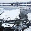 Frozen banks of the Ob River in Novosibirsk, Russia.