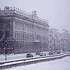 Snowy banks of the Neva River in Saint Petersburg, Russia.