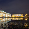 Reflections of the Hermitage on a winter night in St Petersburg, Russia.