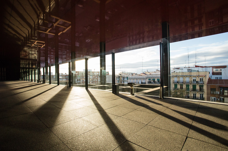 Afternoon light streaming into the terrace of the Museo de Reina Sofia in Madrid, Spain.