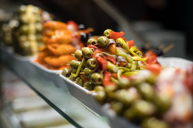 Olives for sale at the Mercado de San Miguel in Madrid, Spain.