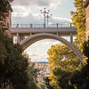 View through the Viaducto de Segovia in Madrid, Spain.
