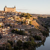 High-angle view of the fortified town of Toledo in Spain.
