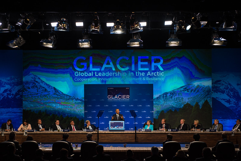 August 31, 2015: United States President Barack Obama delivers closing remarks at the closing plenary of the Global Leadership in the Arctic Cooperation, Innovation, Engagement & Resilience conference.