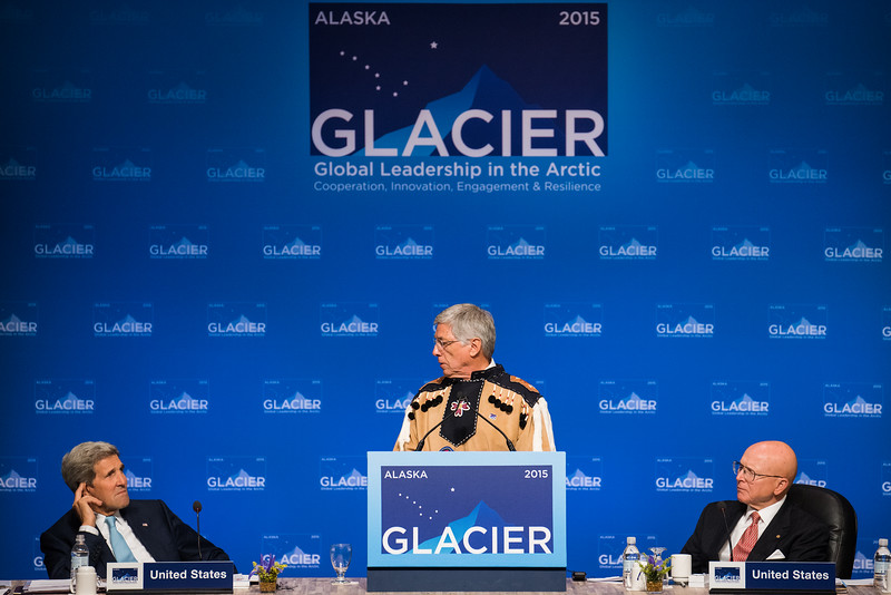 August 31, 2015: Alaska Lieutenant Governor Byron Mallott addresses attendees during the opening plenary of the Global Leadership in the Arctic Cooperation, Innovation, Engagement & Resilience conference.