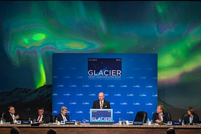 August 31, 2015: Admiral Robert J. Papp, Jr., United States Special Representative for the Arctic, addresses attendees during the opening plenary of the Global Leadership in the Arctic Cooperation, Innovation, Engagement & Resilience conference.