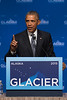 August 31, 2015: President Barack Obama delivers closing remarks to attendees during the closing plenary of the Global Leadership in the Arctic Cooperation, Innovation, Engagement & Resilience conference.
