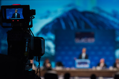 August 31, 2015: United States Secretary of State John Kerry addresses attendees during the opening plenary of the Global Leadership in the Arctic Cooperation, Innovation, Engagement & Resilience conference.