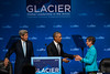 August 31, 2015: United States President Barack Obama greets Secretary of the Interior of the United State Sally Jewell before addressing attendees during the closing plenary of the Global Leadership in the Arctic Cooperation, Innovation, Engagement & Resilience conference.