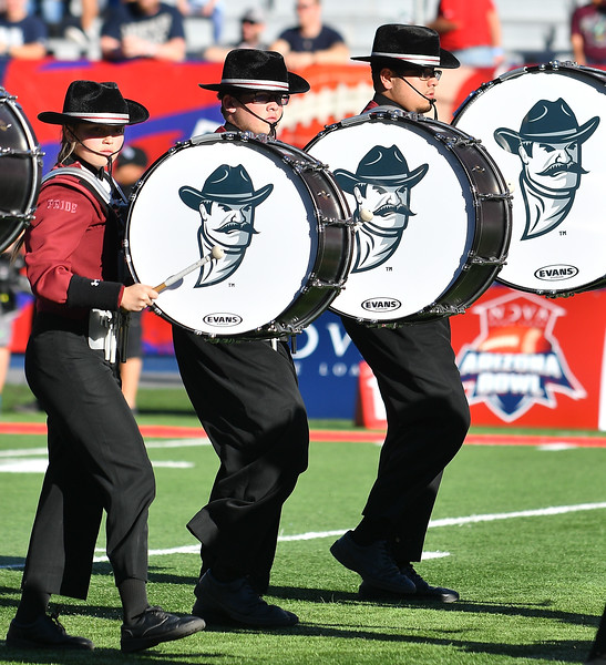 December 29, 2017; Tucson, AZ, USA;  Members of the New Mexico State Aggies marching band perform before the team's game against the Utah State Aggies at the NOVA Home Loans Arizona Bowl at Arizona Stadium in Tucson, Ariz.  Photo by Sam Wasson/bleedCrimson.net