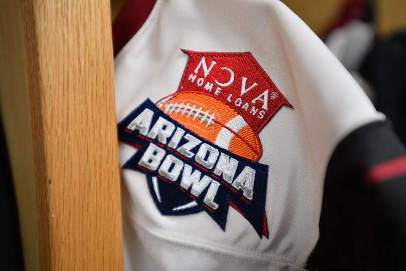 December 29, 2017; Tucson, AZ, USA;  A general view of the NOVA Home Loans Arizona Bowl patch before a game between the New Mexico State Aggies and the Utah State Aggies in the NOVA Home Loans Arizona Bowl at Arizona Stadium in Tucson, Ariz.  Photo by Sam Wasson/bleedCrimson.net