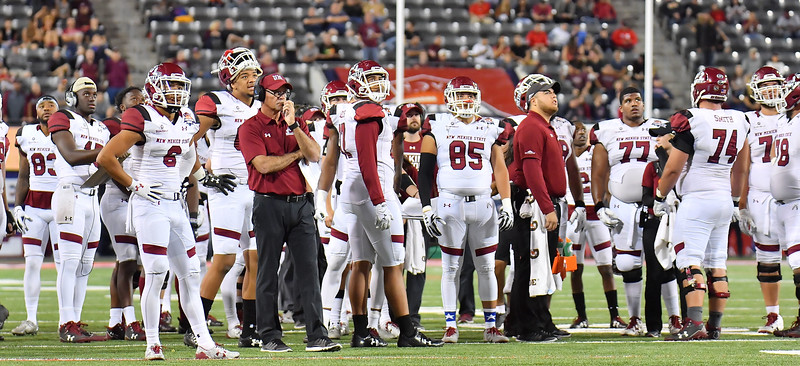 December 29, 2017; Tucson, AZ, USA;  The New Mexico State Aggies watch the video board during an official review during their game against the Utah State Aggies during the NOVA Home Loans Arizona Bowl at Arizona Stadium in Tucson, Ariz.  Photo by Sam Wasson/bleedCrimson.net