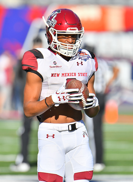 December 29, 2017; Tucson, AZ, USA;  New Mexico State Aggies running back Larry Rose III (3) stands on the field during pregame warmups before his team's game against the Utah State Aggies at the NOVA Home Loans Arizona Bowl at Arizona Stadium in Tucson, Ariz.  Photo by Sam Wasson/bleedCrimson.net