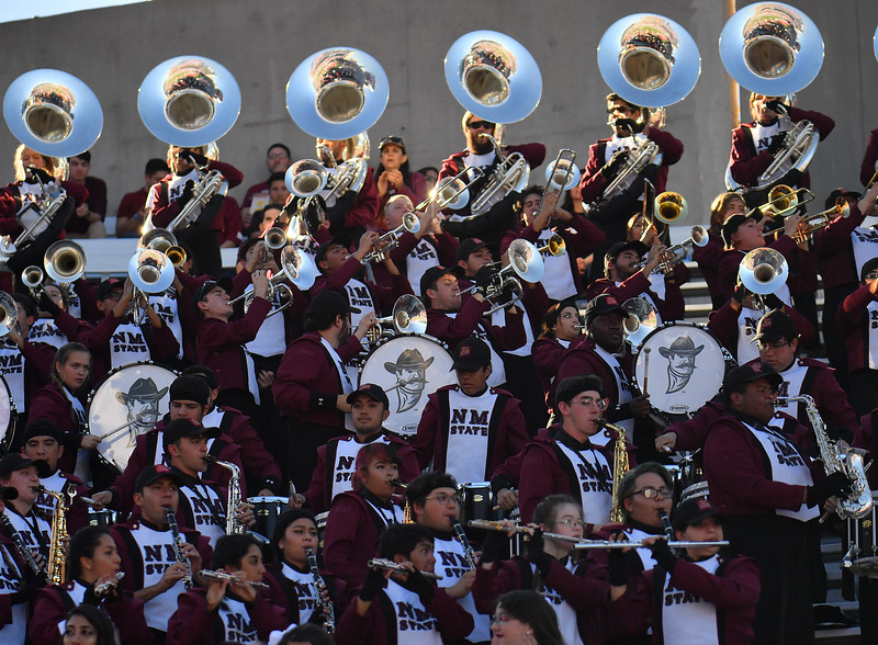 December 29, 2017; Tucson, AZ, USA;  The New Mexico State Aggies marching band performs before the team's game against the Utah State Aggies during the NOVA Home Loans Arizona Bowl at Arizona Stadium in Tucson, Ariz.  Photo by Sam Wasson/bleedCrimson.net