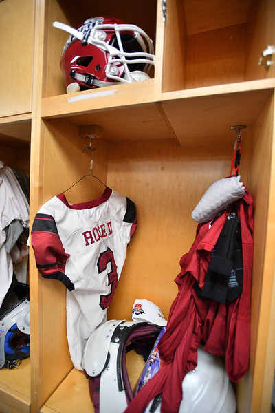 December 29, 2017; Tucson, AZ, USA;  A general view of the New Mexico State Aggies running back Larry Rose III's jersey in the locker room before their game against the Utah State Aggies in the NOVA Home Loans Arizona Bowl at Arizona Stadium in Tucson, Ariz.  Photo by Sam Wasson/bleedCrimson.net