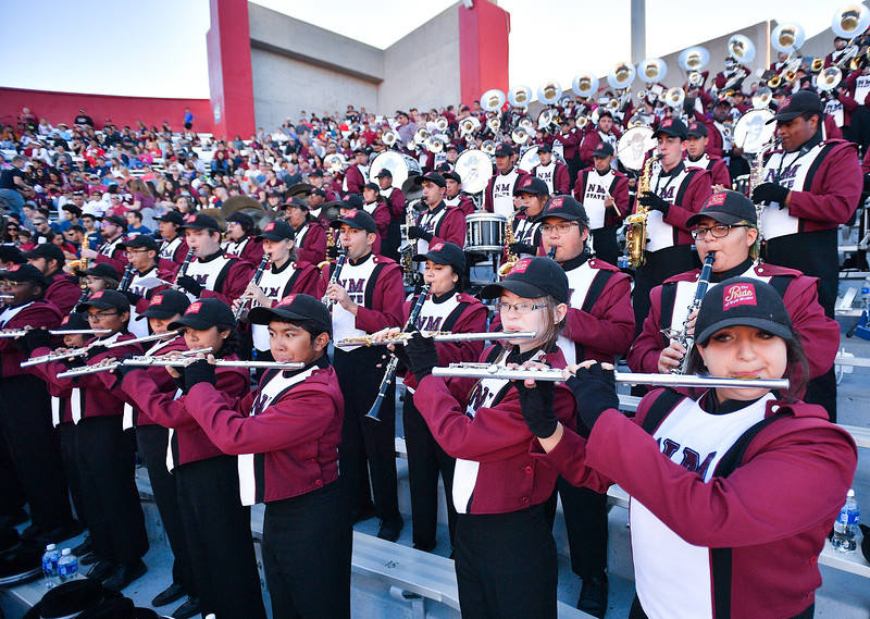 December 29, 2017; Tucson, AZ, USA;  Members of the New Mexico State Aggies marching band perform during the team's game against the Utah State Aggies at the NOVA Home Loans Arizona Bowl at Arizona Stadium in Tucson, Ariz.  Photo by Sam Wasson/bleedCrimson.net