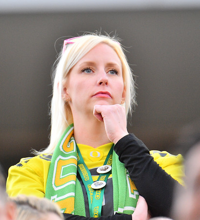 Dec 16, 2017; Las Vegas, NV, USA;  An Oregon Ducks fan looks on during the team's game against the Boise State Broncos at the 26th Las Vegas Bowl at Sam Boyd Stadium. Boise State won 38-28.  Photo Credit: Sam Wasson for the Portland Tribune