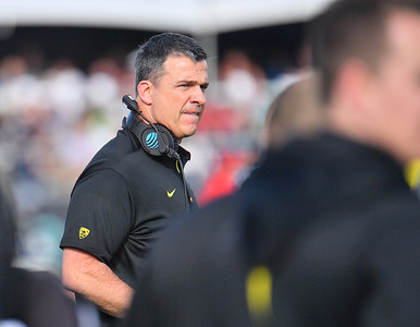 Dec 16, 2017; Las Vegas, NV, USA;  Oregon Ducks head coach Mario Cristobal looks on during their game against the Boise State Broncos at the 26th Las Vegas Bowl at Sam Boyd Stadium. Boise State won 38-28.  Photo Credit: Sam Wasson for the Portland Tribune