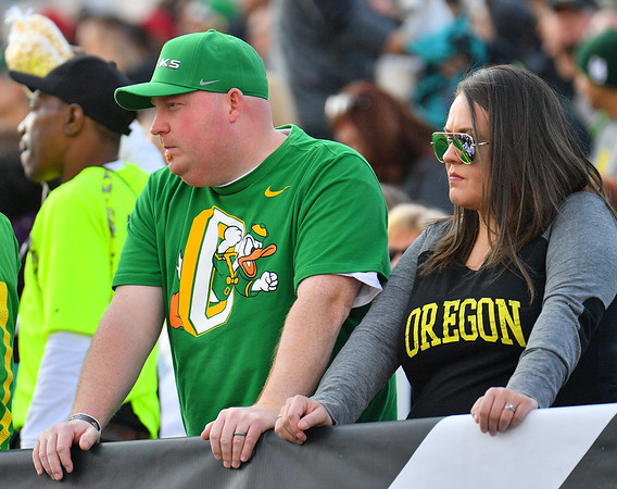 Dec 16, 2017; Las Vegas, NV, USA;  Oregon Ducks fans look on during the team's game against the Boise State Broncos at the 26th Las Vegas Bowl at Sam Boyd Stadium. Boise State won 38-28.  Photo Credit: Sam Wasson for the Portland Tribune