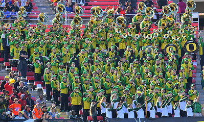 Dec 16, 2017; Las Vegas, NV, USA;  The Oregon Ducks marching band performs during the team's game against the Boise State Broncos at the 26th Las Vegas Bowl at Sam Boyd Stadium.  Photo Credit: Sam Wasson for the Portland Tribune