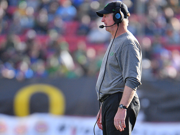 Dec 16, 2017; Las Vegas, NV, USA;  Oregon State defensive coordinator Jim Leavitt looks on during their game against the Boise State Broncos at the 26th Las Vegas Bowl at Sam Boyd Stadium. Boise State won 38-28.  Photo Credit: Sam Wasson for the Portland Tribune