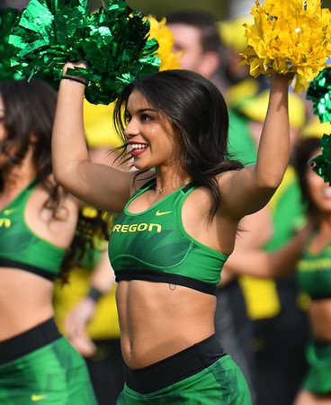 Dec 16, 2017; Las Vegas, NV, USA;  An Oregon Ducks cheerleader performs before the team's game against the Boise State Broncos at the 26th Las Vegas Bowl at Sam Boyd Stadium.  Photo Credit: Sam Wasson for the Portland Tribune