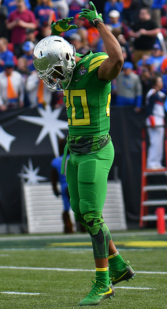 Dec 16, 2017; Las Vegas, NV, USA;  Oregon Ducks running back Tony Brooks-James (20) gestures during their game against the Boise State Broncos at the 26th Las Vegas Bowl at Sam Boyd Stadium.  Photo Credit: Sam Wasson for the Portland Tribune