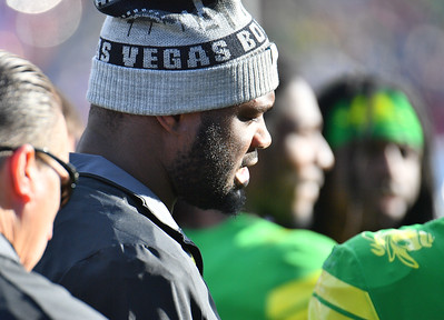 Dec 16, 2017; Las Vegas, NV, USA;  Oregon Ducks running back Royce Freeman stands on the sideline during their game against the Boise State Broncos at the 26th Las Vegas Bowl at Sam Boyd Stadium. Boise State won 38-28.  Photo Credit: Sam Wasson for the Portland Tribune