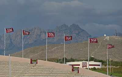 LAS CRUCES, NEW MEXICO - SEPTEMBER 25:  New Mexico State flags blow in the wind before a game between the Hawaii Rainbow Warriors and the New Mexico State Aggies at Aggie Memorial Stadium on September 25, 2021 in Las Cruces, New Mexico.  (Photo by Sam Wasson/bleedCrimson.net)