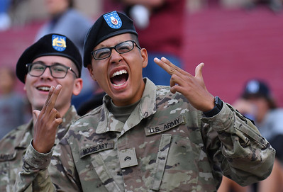LAS CRUCES, NEW MEXICO - SEPTEMBER 25:  A member of the New Mexico State University ROTC cheers before the start of a game between the Hawaii Rainbow Warriors and the New Mexico State Aggies at Aggie Memorial Stadium on September 25, 2021 in Las Cruces, New Mexico.  (Photo by Sam Wasson/bleedCrimson.net)
