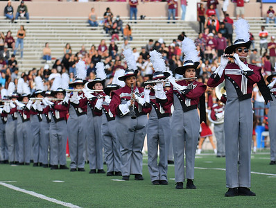 """LAS CRUCES, NEW MEXICO - SEPTEMBER 25:  Members of the New Mexico State Aggies marching band """"The Pride of New Mexico"""" perform before a game between the Hawaii Rainbow Warriors and the New Mexico State Aggies at Aggie Memorial Stadium on September 25, 2021 in Las Cruces, New Mexico.  (Photo by Sam Wasson/bleedCrimson.net)"""