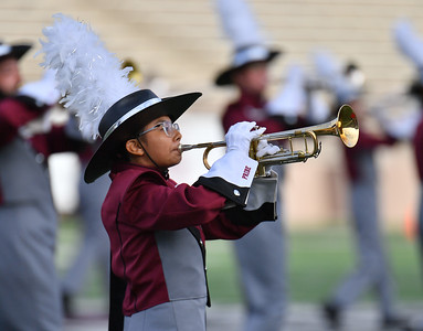 """LAS CRUCES, NEW MEXICO - SEPTEMBER 25:  A member of the New Mexico State Aggies marching band """"The Pride of New Mexico"""" performs before a game between the Hawaii Rainbow Warriors and the New Mexico State Aggies at Aggie Memorial Stadium on September 25, 2021 in Las Cruces, New Mexico.  (Photo by Sam Wasson/bleedCrimson.net)"""