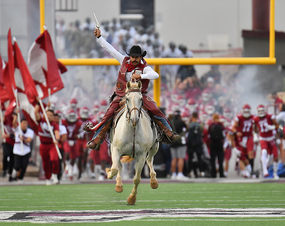 LAS CRUCES, NEW MEXICO - SEPTEMBER 25:  New Mexico State Aggies mascot Pistol Pete rides a horse onto the field before the start of a game between the Hawaii Rainbow Warriors and the New Mexico State Aggies at Aggie Memorial Stadium on September 25, 2021 in Las Cruces, New Mexico.  (Photo by Sam Wasson/bleedCrimson.net)
