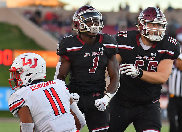 LAS CRUCES, NEW MEXICO - OCTOBER 05, 2019:  Running back Jason Huntley #1 of the New Mexico State Aggies celebrates after rushing for a first down against the Liberty Flames during their game at Aggie Memorial Stadium on October 05, 2019 in Las Cruces, New Mexico.  The Flames defeated the Aggies 20-13.  (Photo by Sam Wasson)