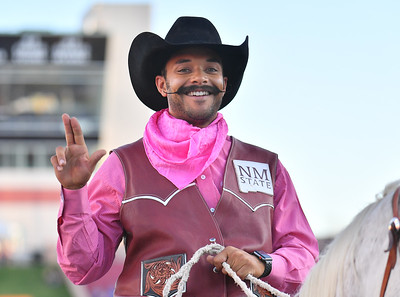 LAS CRUCES, NEW MEXICO - OCTOBER 05, 2019:  New Mexico State Aggies mascot Pistol Pete waves a 'Guns Up' sign before the team's game against the Liberty Flames at Aggie Memorial Stadium on October 05, 2019 in Las Cruces, New Mexico.  The Flames defeated the Aggies 20-13.  (Photo by Sam Wasson)