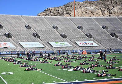 EL PASO, TEXAS - FEBRUARY 21, 2021:  The New Mexico State Aggies and the Tarleton State Texans warm up before their game at Sun Bowl Stadium on February 21, 2021 in El Paso, Texas. The Texans defeated the Aggies 43-17.  (Photo by Sam Wasson/bleedCrimson.net)
