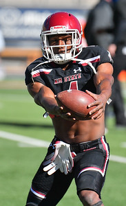 EL PASO, TEXAS - FEBRUARY 21, 2021:  Wide receiver Robert Downs III #4 of the New Mexico State Aggies catches a pass during warmups before his team's game against the Tarleton State Texans at Sun Bowl Stadium on February 21, 2021 in El Paso, Texas. The Texans defeated the Aggies 43-17.  (Photo by Sam Wasson/bleedCrimson.net)
