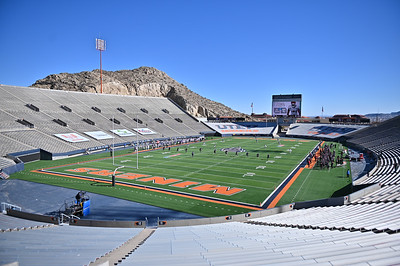 EL PASO, TEXAS - FEBRUARY 21, 2021:  The New Mexico State Aggies kick off to the Tarleton State Texans during the first half of their game at Sun Bowl Stadium on February 21, 2021 in El Paso, Texas. The Texans defeated the Aggies 43-17.  (Photo by Sam Wasson/bleedCrimson.net)